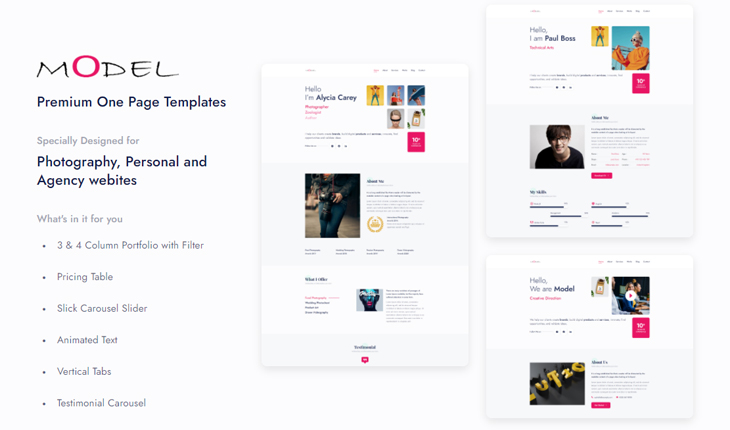 Model - Modern HTML5 One Page Template